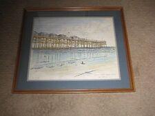 Gil McCue Crystal Pier  San Diego Signed Print Framed Listed Artist
