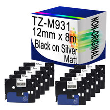 10 Compatible Matt Label Tape For Brother TZ-M931 12mm x 8m Black on Silver
