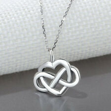 925 Sterling Silver Infinity Heart Necklace Celtic Knot Pendant Jewelry for Girl