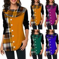 Long Sleeve Women's Blouse Plaid Comfy Tunic Top T-Shirt Plus Size Button Decor