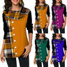 Womens Plaid Long Sleeve Tunic Top Button Cowl Neck Pullover Shirt Plus Size