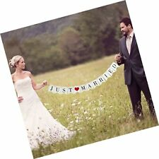 Vintage Just Married Banner Wedding Bunting Photo Booth Props Signs Garland B.