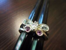925 Sterling Silver Signed VTG Multi Stones Sparkle Butterfly Ring  SZ 6,5=4gr