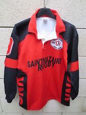 VINTAGE Maillot rugby S.R SAINT-NAZAIRE porté n°9 La Fouine SNR rouge shirt M