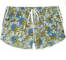 Clover Canyon Crepe de chine Drawsting & Pockets Palm Leaf Print Shorts Medium