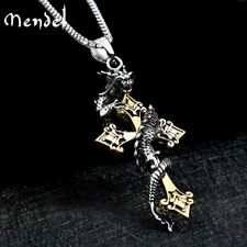 Mendel Mens Large Gold Stainless Steel Dragon Cross Pendant Necklace For Men