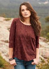 NEW PERUVIAN CONNECTION Borneo Pima Cotton Light Relaxed Tee paprika red M