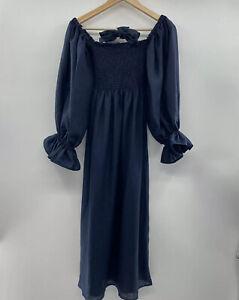 The Sleeper Women's Atlanta Linen Lounge Dress Navy Blue Ruched Body Size S $320