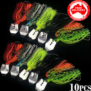 10x 3/8oz Chatterbait Lures Swim Jigs Fishing Skirted Spinnerbait Bass Cod Perch