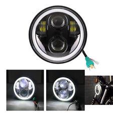 5.75 Inch Black Motorcycle LED Headlight Lamp Angel eyes For Harley XL 1200