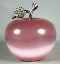 Beautiful Natural Pink Cat's Eye Crystal Apple Figurine Decoration Crystal Gift