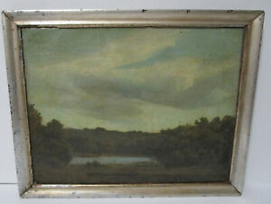 Antique 1800's Oil on Canvas Pond and Woods