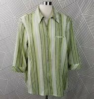 Allison Daley plus size 22 3X Top Blouse Shirt Crinkle Stripe Button Up Career