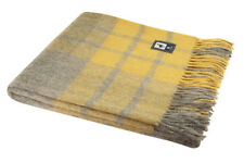 Plush Alpaca Wool Blanket with Plaid Scottish Pattern (Gold/Sand)