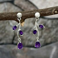 Solid 925 Sterling Silver Natural Amethyst Purple Amethyst Earrings Jewelry.