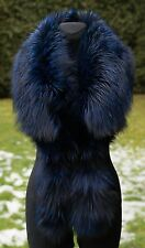 "Platinum Saga Furs Navy Blue Fox Fur 63"" Shoulder Wrap Stole Scarf Cuffs"