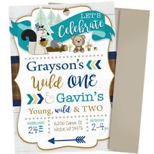 Joint Woodland Boy Birthday Invitation Wild One Young Wild and Three Sibling