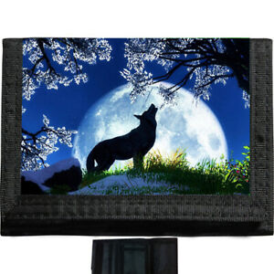 Wolf Howling Moon BLACK TRIFOLD NYLON WALLET Great Gift Idea