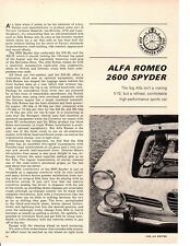 1964 ALFA ROMEO 2600 SPIDER ~ ORIGINAL 3-PAGE ROAD TEST / ARTCLE / AD
