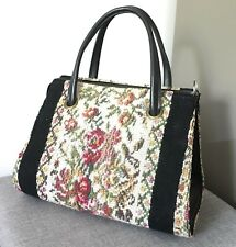 VINTAGE 1960s EMBROIDERED CARPET BAG HANDBAG