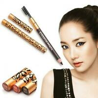 Beauty Women Waterproof Cosmetic Makeup Leopard Eyeliner Eyebrow Pencil Brush