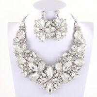 Large Rhinestone Floral Cluster Necklace Set - Bridal-Drag Queen-Pageant-Costune