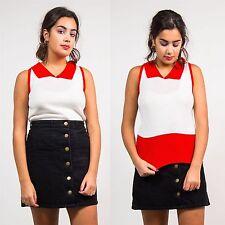 Blusa para mujer Vintage años 70 top con cuello sin mangas de punto elástico Retro 12