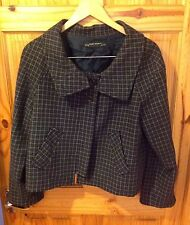 ZARA Basic Vintage Style 1960's Wool Blend Dark Check Cropped Swing Coat L 12 14