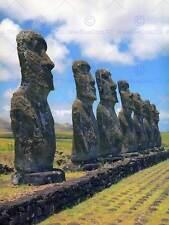 Foto Landmark Polinesia Moai Rapa Nui Isla De Pascua personas impresión BMP10960