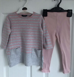 Baby Girls Pink/Grey George/Matalan Top/Legging Outfit - Approx Age 18 Months