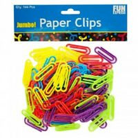Jumbo Colored Plastic Paper Clips (144 Ct)