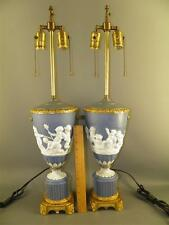 Antique Pair Blue Jasperware Tall Table/Banquet Lamps Cherubs Ornate Bases