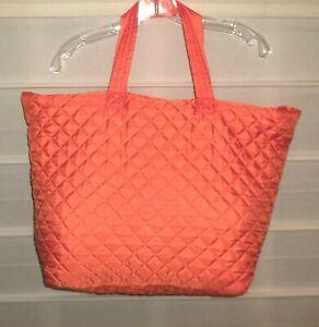 Bright Orange Nylon Quilted Fully Lined Handbag Purse Tote EC!
