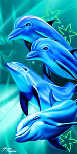 Happy Dolphins Beach Towel