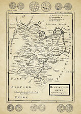 Huntingdonshire County Map by Herman Moll 1724 - Reproduction