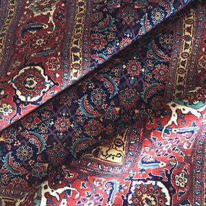 Perser Teppich Alte Täbris Mahi Handgeknüpft Rot Blau Rug Carpet Alfombra Tapis
