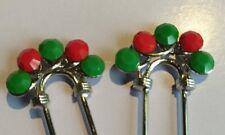 VINTAGE CHERRY RED/GREEN SWAROVSKI CRYSTAL  PIN SET OF 2 HANDMADE