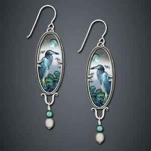 Boho Tibetan 925 Silver Turquoise Dangle Drop Hook Earring Vintage Women Jewelry
