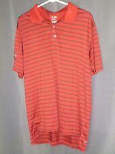 Adidas Climalite Red Black Stried Polo Shirt Sz Medium Hi Low LA02