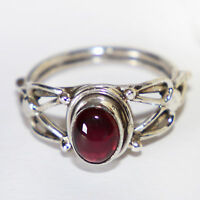 Granatring Silber 925 Echt Sterlingsilber Damenring Ring Cabochon Granat Rot ts