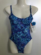TanThru Badeanzug Durchbräunend Urwald 38 B Blau Blüten Meer Solar Neu