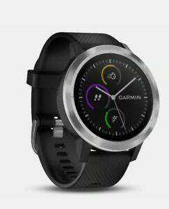 New Garmin VIVOACTIVE 3 GPS Smart Watch in black steel