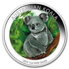 AUSTRALIA 2019 $1 KOALA 1 Oz SILBER COLOR FARBE AUSGABE NUR 100 MIT COA