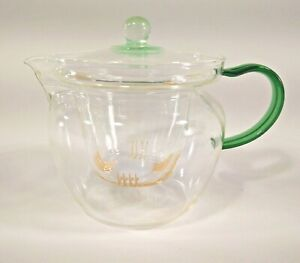 Yama Loose Leaf Tea Pot Steeper Infuser Strainer Pitcher 3 Pc Clear Glass Green