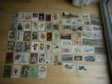 INTERESTING COLLECTION OF 70 VINTAGE POSTCARDS ALL GREETINGS MOST PRE 1921