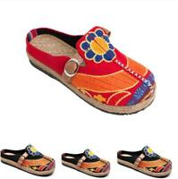 Womens Round Toe Flats Pumps Shoes Embroidery Ethnic Loafers Mules Buckle Casual