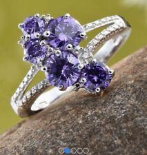 Gorgeous Simulated Sapphire Split Ring - Platinum Bond Brass - Sz 5