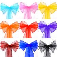 10/20/50/100/150pcs Organza Chair Sash Cover Bow for Wedding Party Banquet Venue