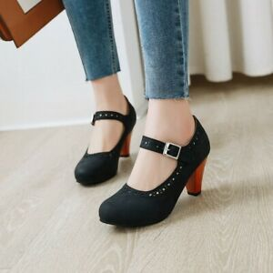 Ladies Round Toe Roman Block High Heels Buckle Women Retro Ankle Strap Shoe Pump