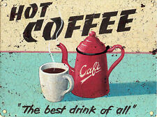 Hot Coffee advertising sign 30x40cm retro metal wall plaque